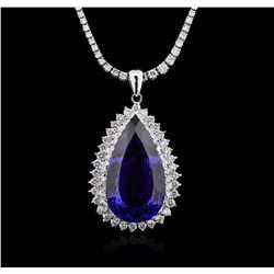 14KT White Gold GIA Certified 31.37ct Tanzanite and Diamond Pendant With Chain