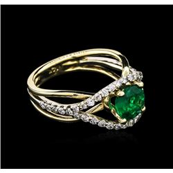 1.17ct Emerald and Diamond Ring - 14KT Two-Tone Gold