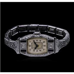 Bulova Art Deco 14KT White Gold Sapphire and Diamond Vintage Watch