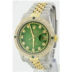Rolex Two Tone String Diamond and Emerald DateJust Men's Watch