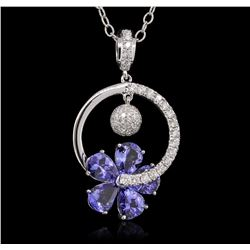 14KT White Gold 9.20ctw Tanzanite and Diamond Pendant With Chain