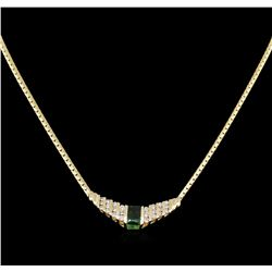 1.27ct Emerald and Diamond Necklace - 14KT Yellow Gold