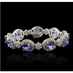 14KT Two-Tone Gold 15.66ctw Tanzanite and Diamond Bracelet