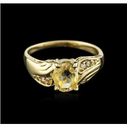 14KT Yellow Gold 1.24ct Yellow Sapphire and Diamond Ring
