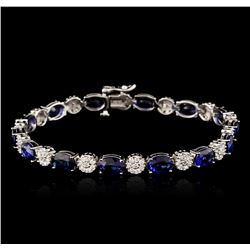 14KT White Gold 21.98ctw Sapphire and Diamond Bracelet