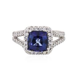 14KT White Gold 2.90ct Sapphire and Diamond Ring