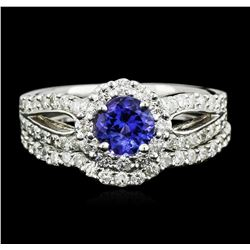 14KT White Gold 0.73ct Tanzanite and Diamond Wedding Ring Set