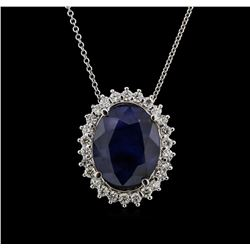 25.71ct Sapphire and Diamond Pendant With Chain - 14KT White Gold