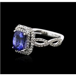 14KT White Gold 1.27ct Tanzanite and Diamond Ring