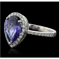 14KT White Gold 3.22ct Tanzanite and Diamond Ring