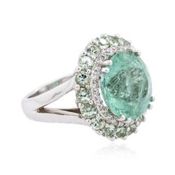18KT White Gold 13.45ctw Tourmaline and Diamond Ring