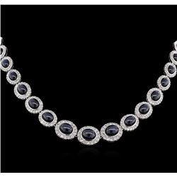 91.43ctw Blue Star Sapphire and Diamond Necklace - 14KT White Gold