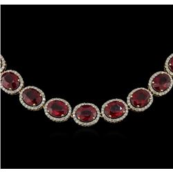 97.13ctw Ruby and Diamond Necklace - 14KT Yellow Gold