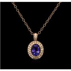 2.72ct Tanzanite and Diamond Pendant With Chain - 14KT Rose Gold