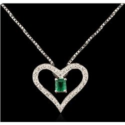 14KT White Gold 0.45ct Emerald and Diamond Pendant With Chain
