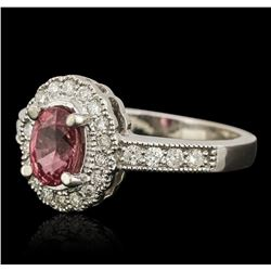 14KT White Gold 1.53ct Pink Sapphire and Diamond Ring