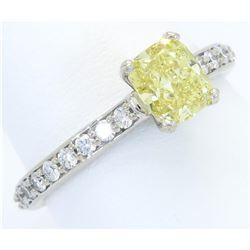GIA Certified 1.37ctw Yellow Diamond Ring - 14KT White Gold