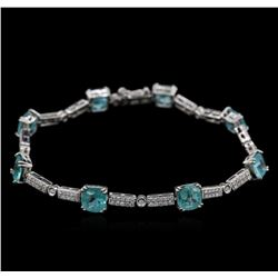 7.20ctw Apatite and Diamond Bracelet - 14KT White Gold