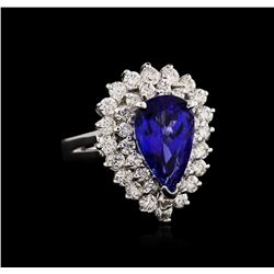 14KT White Gold 3.11ct Tanzanite and Diamond Ring