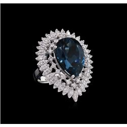 14KT White Gold 14.73ct Topaz and Diamond Ring