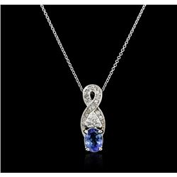 14KT White Gold 0.99ct Sapphire and Diamond Pendant With Chain