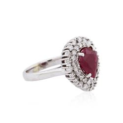 18KT White Gold GIA Certified 2.82ct Ruby and Diamond Ring