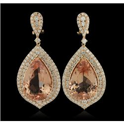 14KT Rose Gold 24.62 Morganite and Diamond Earrings