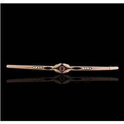 14KT Rose Gold 0.17ct Ruby and Pearl Antique Pin