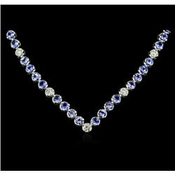14KT White Gold 11.52ctw Tanzanite and Diamond Necklace