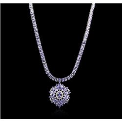 14KT White Gold 67.32ctw Tanzanite and Diamond Necklace