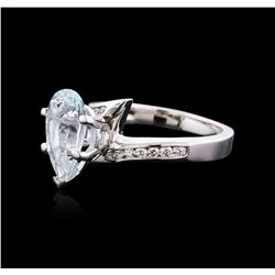 14KT White Gold 2.19ct Aquamarine and Diamond Ring
