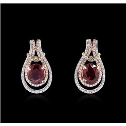 14KT White And Rose Gold 3.10ctw Ruby and Diamond Earrings