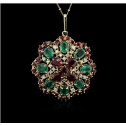 14KT Yellow Gold 11.78ctw Ruby, Emerald and Diamond Pendant With Chain
