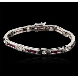 14KT White Gold 2.40ctw Ruby and Diamond Bracelet