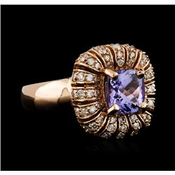14KT Rose Gold 1.68ct Tanzanite and Diamond Ring
