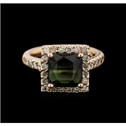 3.25ct Tourmaline and Diamond Ring - 14T Rose Gold
