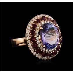 14KT Rose Gold 6.61ct Tanzanite, Ruby and Diamond Ring