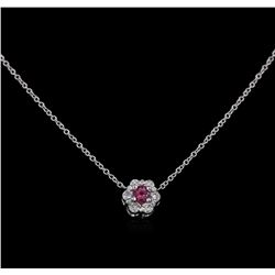 0.15ct Rubellite and Diamond Pendant With Chain - 14KT White Gold