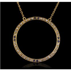 14KT Yellow Gold 0.20ctw Sapphire and Diamond Pendant With Chain