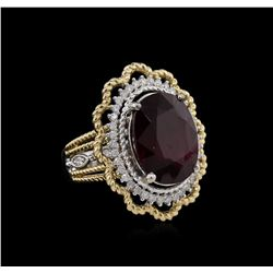 13.13 Ruby and Diamond Ring - 14KT Two-Tone Gold