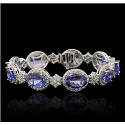 14KT Two-Tone Gold 25.74ctw Tanzanite and Diamond Bracelet