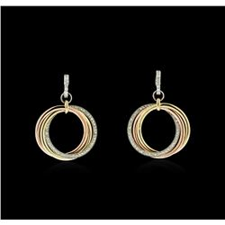 14KT Tri-Color Gold 0.90ctw Diamond Earrings