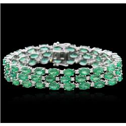 14KT White Gold 28.09ctw Emerald and Diamond Bracelet