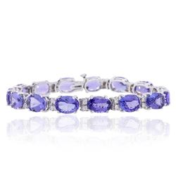 14KT White Gold 34.30ctw Tanzanite and Diamond Bracelet
