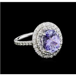 3.56ct Tanzanite and Diamond Ring - 14KT White Gold