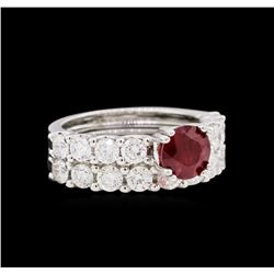 14KT White Gold 1.62ct Ruby and Diamond Wedding Set