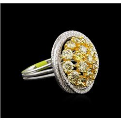 3.42ctw Fancy Yellow Diamond Ring - 14KT Two-Tone Gold
