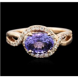 14KT Rose Gold 2.03ct Tanzanite and Diamond Ring