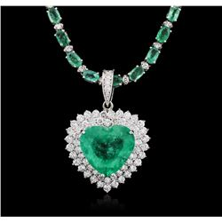 14-18KT White Gold 23.29ctw Emerald and Diamond Necklace
