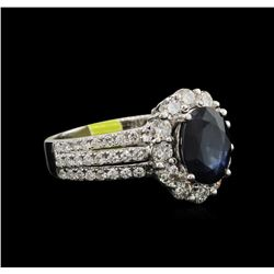 2.00ct Blue Sapphire and Diamond Ring - 14KT White Gold
